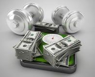 Geld für Gesundheit und Eignung Lizenzfreie Stockfotos