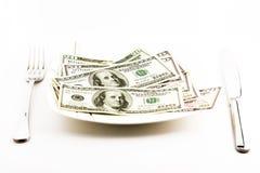 Geld für Lebensmittel Stockbilder