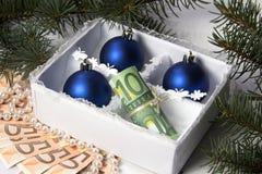 Geld für Weihnachten Lizenzfreies Stockbild