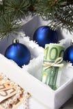 Geld für Weihnachten Stockbilder