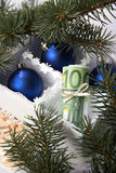 Geld für Weihnachten Stockbild