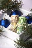 Geld für Weihnachten Stockfoto
