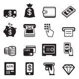 Geld, financiën, het bank de vector van creditcardpictogrammen Stock Foto's