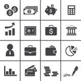 Geld, financiën, het bank pictogrammen Stock Afbeeldingen