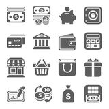 Geld, financiën, het winkelen pictogrammen vector illustratie