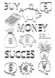 Geld & financiënkrabbels vector illustratie
