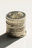 Geld, Finanzen Stapel der Euromünzen lizenzfreies stockfoto