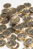 Geld, Finanzen Stapel der Euromünzen stockfotografie