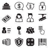 Geld, Finanzierung, Schattenbildikonen-Vektorsatz ein Bankkonto habend Lizenzfreie Stockfotos