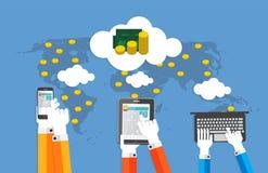 Geld-flache Konzept- des Entwurfesvektor-Illustration Stockfoto