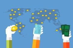 Geld-flache Konzept- des Entwurfesvektor-Illustration Lizenzfreie Stockfotografie