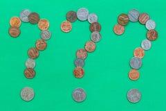 Geld-Fragen Stockbild