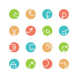 Geld gekleurde pictogramreeks Stock Afbeelding
