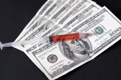Geld in geneeskunde stock foto's