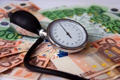 Geld in geneeskunde, verzekering en corruptie Royalty-vrije Stock Afbeelding