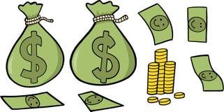 Geld-gesetzte vektorabbildung stock abbildung