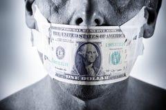 Geld-Gesichts-Mund Stockfoto