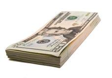 Geld getrennt auf weißem Hintergrund Stockbild