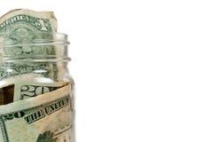 Geld in glaskruik royalty-vrije stock afbeelding