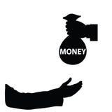Geld in hand Vector Royalty-vrije Stock Afbeelding