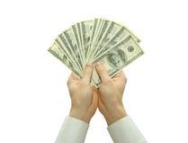 Geld in handen Stock Afbeeldingen