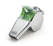 Geld in het fluitje Stock Foto's