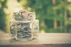 Geld in het glas Stock Afbeelding