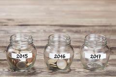 Geld in het glas Stock Fotografie