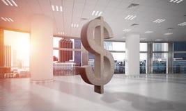 Geld het maken en rijkdomconcept door het symbool van de steendollar in bureauruimte die wordt voorgesteld Stock Foto