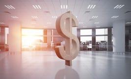 Geld het maken en rijkdomconcept door het symbool van de steendollar in bureauruimte die wordt voorgesteld Royalty-vrije Stock Afbeelding