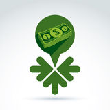 Geld het verdienen themapictogram met dollar en 3 pijlen Royalty-vrije Stock Afbeeldingen