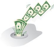 Geld hinunter den Ablaß Stockfotos