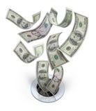 Geld hinunter den Ablass-Abfall
