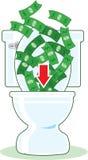 Geld hinunter die Toilette Lizenzfreie Stockfotos