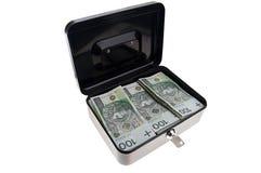 Geld im Bargeldkasten Stockfoto