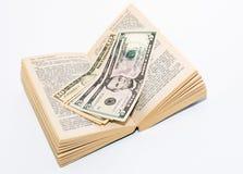 Geld im Buch Stockfotos