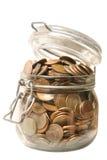 Geld im Glasglas Stockfotografie