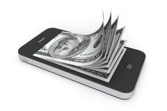 Geld im Handy Lizenzfreie Stockfotografie