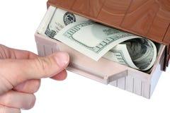 Geld im Kasten Stockfoto