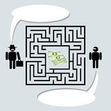 Geld im Labyrinth Stockfotografie