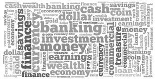 Geld informatie-tekst grafiek en regelingsconcept Stock Afbeelding
