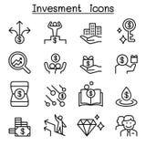Geld & Investeringspictogram dat in dunne lijnstijl wordt geplaatst royalty-vrije illustratie