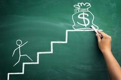 Geld ist ein Ziel des Lebens Stockfoto