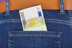 Geld in jeanszak Royalty-vrije Stock Afbeelding