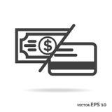 Geld of kaart de zwarte kleur van het overzichtspictogram Stock Afbeeldingen
