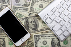 Geld, kaartjes en beweging van contant geld royalty-vrije stock foto's