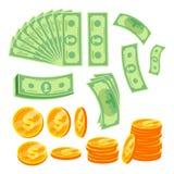 Geld-Konzept-Vektor Papierdollar und Goldmünzen Verschiedene Winkel Lokalisierte flache Karikaturillustration vektor abbildung