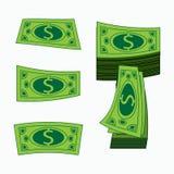 Geld KonzeptGeschäftsgewinn Grüner amerikanischer Dollar Eine Illustration auf Weiß ist es einfach, Hintergrund zu trennen Stockfotos