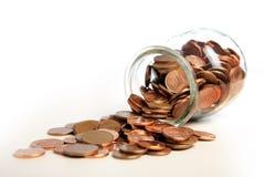 Geld in kruik Stock Foto