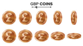 Geld Kupfermünze-Vektor-Satz GBPs 3D Realistische Abbildung Flip Different Angles Geld Front Side investition Stockfotografie